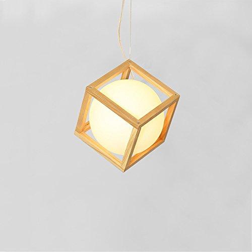 KMYX Lámpara colgante de techo de madera simple Sombra de bola de cristal Lámpara geométrica E27 Socket de alto brillo Altura ajustable dormitorio decorado Cocina Restaurante Bar Suspensión de luz