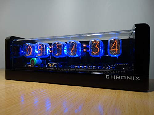 Nixie Tube Clock with 6xIN-12 displays & Alarm & Blue Backlight & Black Glossy Wooden case CHRONIX