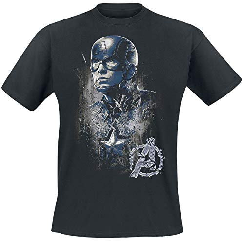 Capitán América Profile Hombre Camiseta Negro M, 100% algodón, Regular