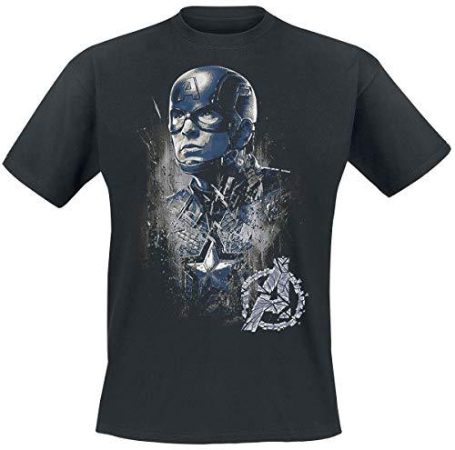 Capitán América Profile Hombre Camiseta Negro S, 100% algodón, Regul