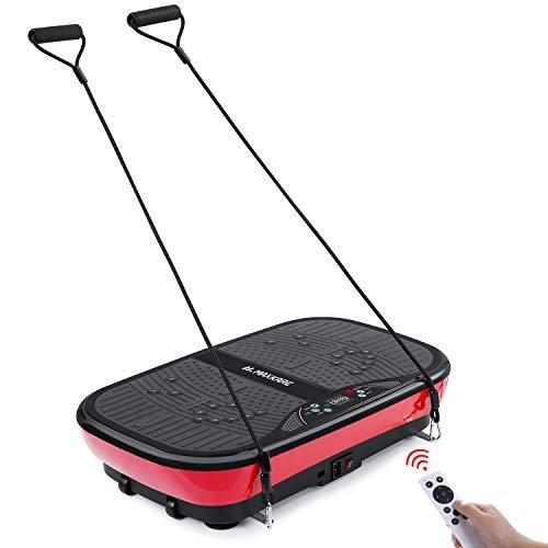 MaxKare Vibrationsplatte Fitness Training ganz Körper 2 Schleifenbändern +3Vibrationszonen +10 Modi +99 Geschwindigkeit ohne Rutsch für Fett Gewichtsverlust Formgebung Massage Zuhause