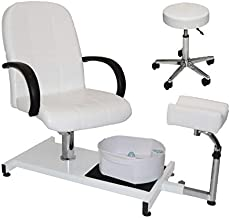 LCL Beauty White Hydraulic Lift Adjustable Pedicure Unit with Easy-Clean Bubble Massage Footbath