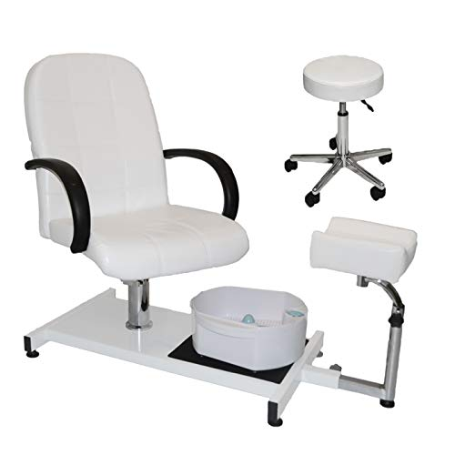 White Hydraulic Adjustable Pedicure Station with Easy-Clean Bubble Massage Footbath