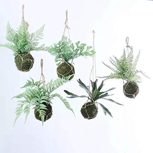 RISEON Set von 5 künstlichen Boston-Farn gefälschte hängende Horn Farn Pflanze Faux Sträucher Grüne Rebe Kunststoff Pflanzen mit Moosball für Büro Home Decor Indoor & Outdoor