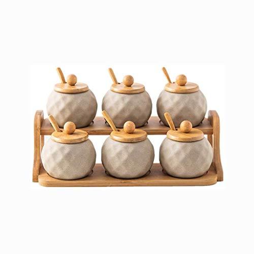 MZXUN Botella Cubierta Aderezo, Creativo Tarro de cerámica del condimento con el Roble Base Utensilios de Cocina salero