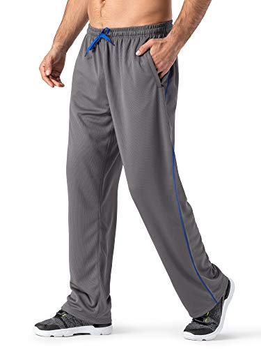 MAGNIVIT Men's Pocketed Open-Bottom Sweatpant Active Performance Sweatpant Loose-Fit Grey