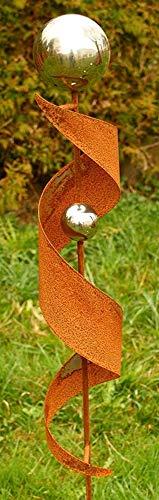 Gartendeko Rost Eisen Stab mit 2 Edelstahlkugeln 2020
