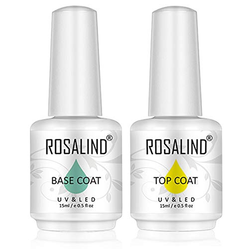 ROSALIND 2PCS capa superior y capa base gel esmalte de uñas empapa de UV LED barniz multiusos 15 ml