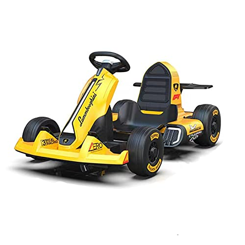 Gmjay Kart Eléctrico, Ride On Go Kart con Luces Intermitentes, Scooter de Carreras de Actividad de Juegos para Niños,Yellow