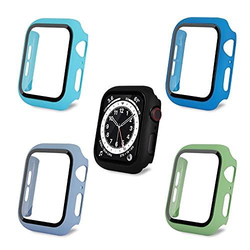 AOTUAO Funda Compatible con Apple Watch Serie 6 SE 5 4 44mm, Estuche Rígido Delgado PC Protector de Pantalla Cristal Templado para iWatch, 4Piezas Ice Blue Light Bule Azul Verde