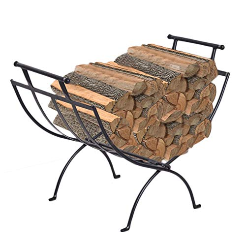 Folding Indoor 2ft Fireplace Log Wood Holder, Medium Iron Outdoor/Farmouse Lumber Storage Rack, Lightweight Hearth Logs Stand