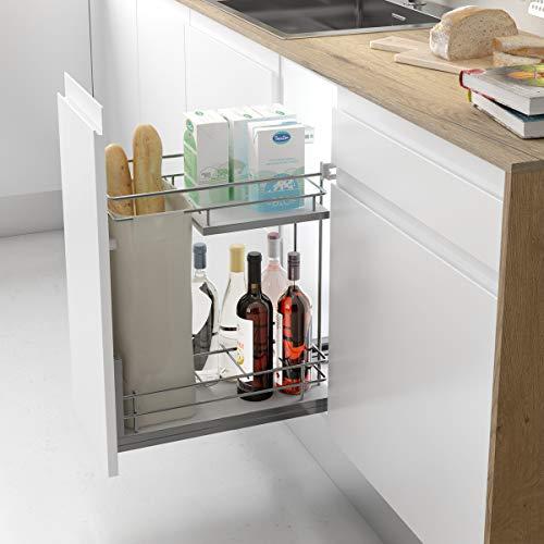 Casaenorden - Botellero panero extraíble con base de melamina para instalar en la base del mueble de cocina, 400