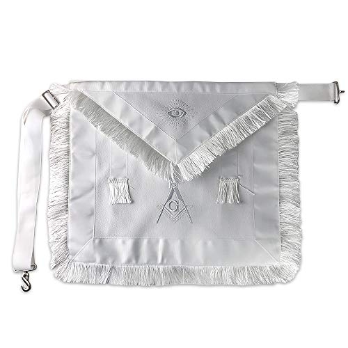 Masonic Apron Synthetic Leather Embroider Square Compass G with White Fringes