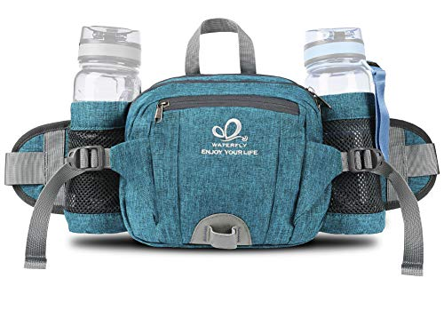 Fanny Pack with Water Bottle Holder Hiking Waist Packs for Walking Running...