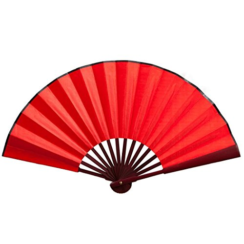 Cinhent Hand Folding Fans for Chinese Floral Lace Silk Wedding Dancing Party (Red)
