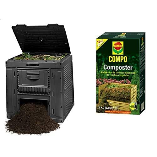 Keter - Compostador E-Composter con Capacidad De 470 L, Color Gris Oscuro + Compo Composter 2 Kg Acelerador De Descomposición De Residuos Vegetales, 3 M², Negro
