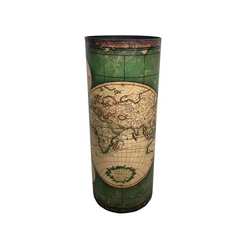 Rebecca Mobili Porta Ombrelli, Portabastoni da Passeggio, Verde Beige Canvas Stile Vintage Arredo Casa - Misure: 49,5 x 20 x 20 cm (HxLxP) - Art. RE6393