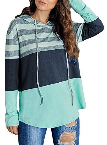Astylish Damen Kapuzenpullover Sweatshirt Jacke Damen Kontrastfarbe Sweatshirt mit Kordel/Tasche Langarmshirt mit Winddichte Ärmelstulpe Hoodie (S-2XL/Blau), Grün, XL-EU(46-48)