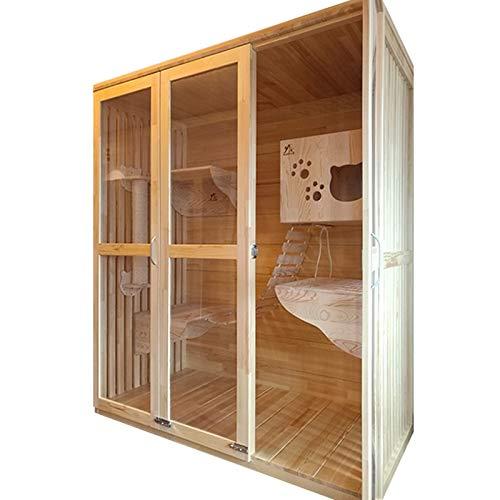 YAzNdom Kat voor huisdieren grote kat klimmen frame in massief hout luxe kat huis glazen kast kat kooi in massief hout