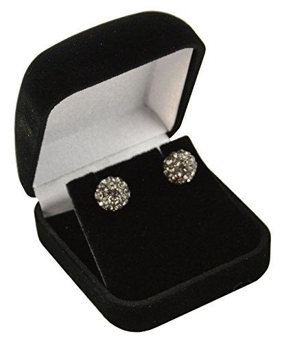Box Displays 1 x Black Velvet Earring Box Jewellery Earring Gift Presentation Earring Case Holder Wedding Jewellery Gift Box
