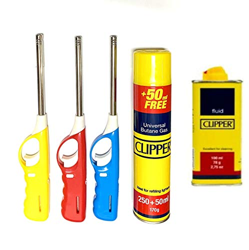 KARAN KING® 3 BBQ Lighters with Refill Clipper Gas Refillable Safety Gas Candle Fire BBQ Lighter (FREE CLIPPER PETROL)