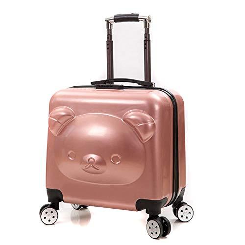 Primavera Nuovo Orso Caso Universale Ruota Bambini Trolley Caso Orso Cartoon Trolley Valigia 20 Pollici Orso Trolley Case Oro rosato. 51 cm