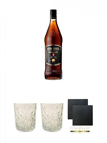 Arehucas Ron Miel mit Honig Guanche Kanarische Inseln Spanien 1,0 Liter + Rum Glas 1 Stück + Rum Glas 1 Stück + Schiefer Glasuntersetzer eckig ca. 9,5 cm Ø 2 Stück