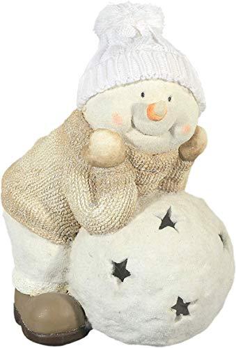 Unbekannt Winter Dekofigur Schneemann mit Schneeball - Weihnachten, Windlicht, Beige