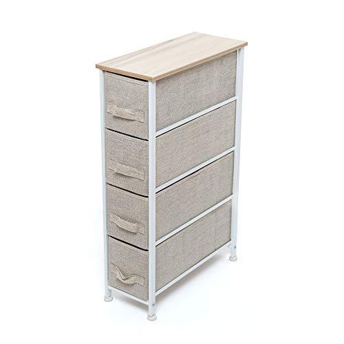Dmail - Scaffale Alto e Stretto, cassettiera salvaspazio con 4 cassetti in MDF, TNT, CARTONCINO, Metallo, 20x76x48