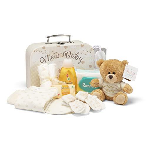 Newborn Baby Gift Set Hamper - Baby Shower Gifts for a New Baby with Newborn Essentials, Teddy Bear in 2 Cream Keepsake Boxes