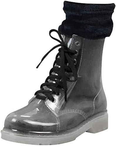 LvRao Damen Hohe Stiefeletten Stiefel Winter Warm Schnee Regen Gummistiefel Schnürung Boots Transparent mit Socken 40