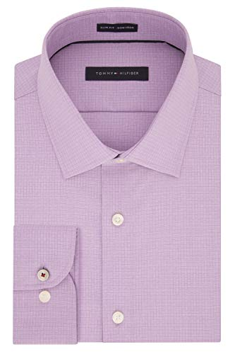 Tommy Hilfiger Men's Dress Shirt Slim Fit Non Iron Check, Mulberry, 17' Neck 34'-35' Sleeve (X-Large)