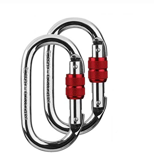2 Pack mosquetón de escalada (25kn = 5600 LB) O-Shaped Super fuerza