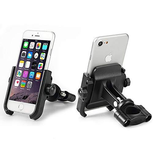 Soporte Móvil Teléfono Smartphone Universal para Moto Bici Scooter en Aluminio 360° Rotación para Móvil Navegador GPS (Manillar Negro)