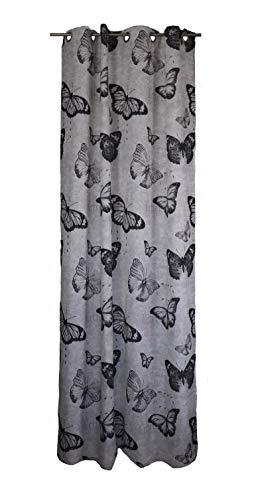 SCHMIDTGARD STOFFE - Tenda decorativa con occhielli, stile vintage, 140 x 245 cm, bianco/grigio