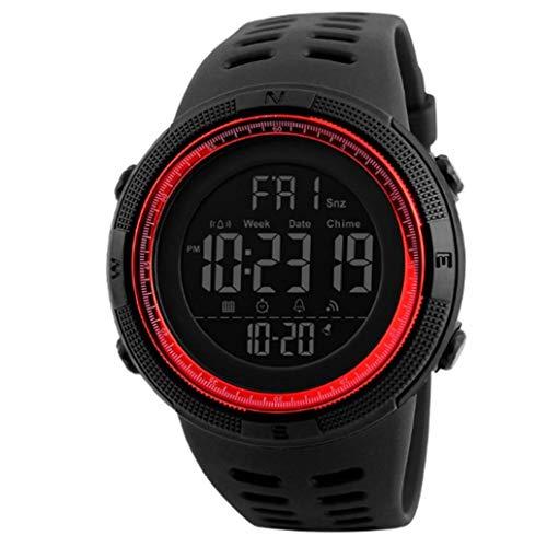 Digitale elektronische Militäruhr mit Lederarmband, leicht ablesbar, wasserdicht, klassische Stoppuhr, rot, Retro-Modeschmuck