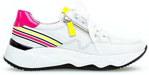 Gabor Damen Sneaker, Frauen Low-Top Sneaker,Best Fitting,Reißverschluss,Optifit- Wechselfußbett, Freizeit leger Lady,Weiss/neon-Kombi,40 EU / 6.5 UK