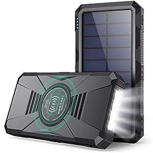 HETP Power Bank 30800mAh - PD25W Wireless Power Bank QC 4.0 Fast Charging Solar Powerbank [4-Ausgang 3-Eingang Typ-C] Externer Akku Pack USB Power Banks mit LED Taschenlampe für iPhone Samsung mehr
