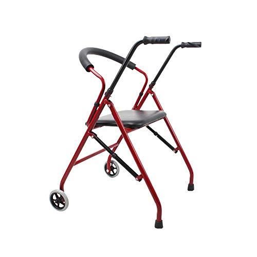 Elektrischer Rollstuhl Leichter zusammenklappbarer Rollator Walker mit Sitz, Aluminium Rollator Fold, höhenverstellbar, gepolsterter Sitz mit 5-Zoll-Rollen, Rot, Rot