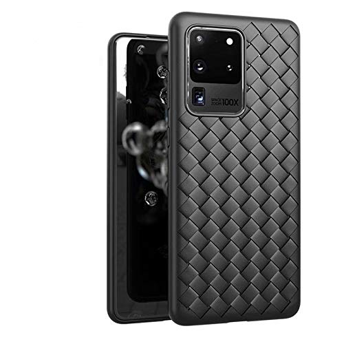 BEIJING  PROTECTIVECOVER+ / Galaxy S20 Plus Modelo Tejido clásico Antideslizante TPU Transpirable, Fashion Phone Funda para Protector (Color : Negro)