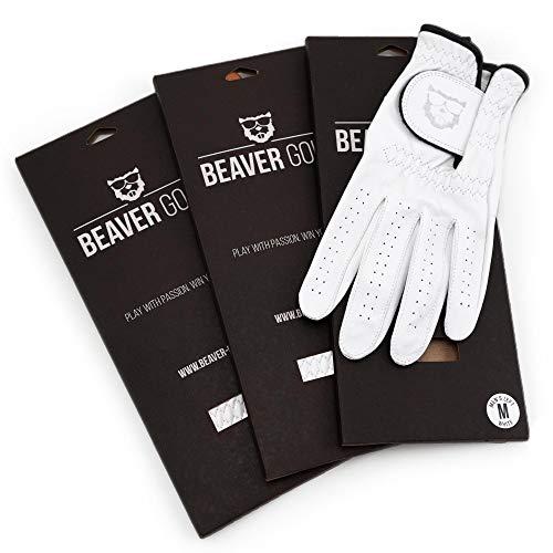 BEAVER GOLF 3X Herren Golf Handschuh Weiss - Premium Cabretta-Leder - maximale Qualität - nachhaltig - Handarbeit (S, Links (Rechtshänder))