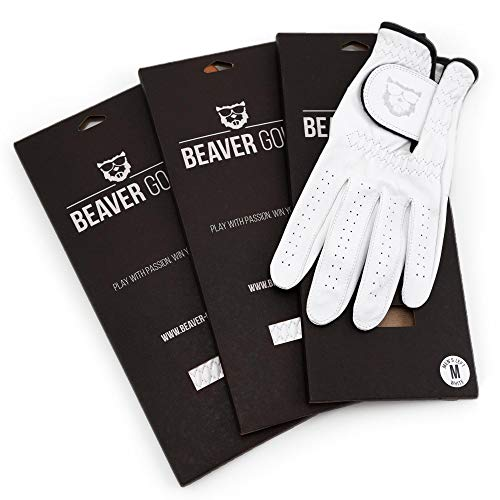 BEAVER GOLF 3X Herren Golf Handschuh Weiss - Premium Cabretta-Leder - maximale Qualität - nachhaltig - Handarbeit (ML, Links (Rechtshänder))