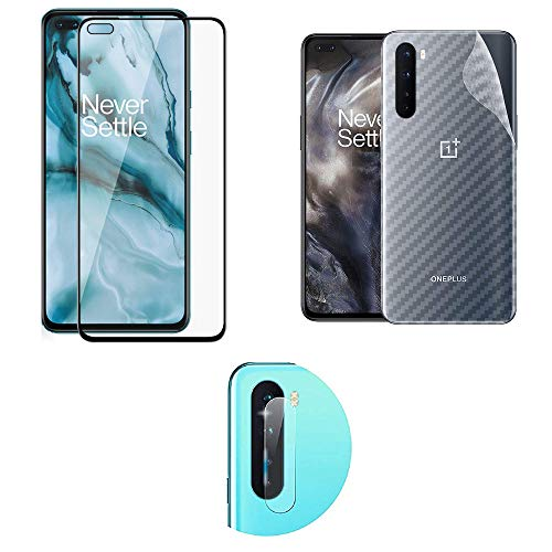 LINLO [3 in 1] Compatible for OnePlus Nord 11D Tempered Glass [with Camera Hole] with Clear Transparent Fiber Back Skin Rear Screen Guard Protector with Camera Lens Protector Tempered Glass