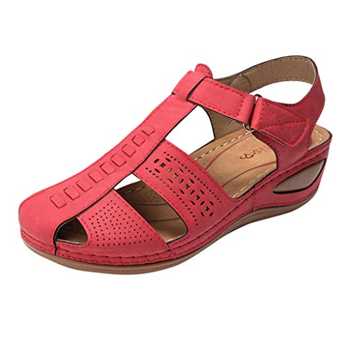 Great Deal! KCPer Women's Sandals Summer Beach Walking Wedge Leather Breathable Ankle Straps Open To...