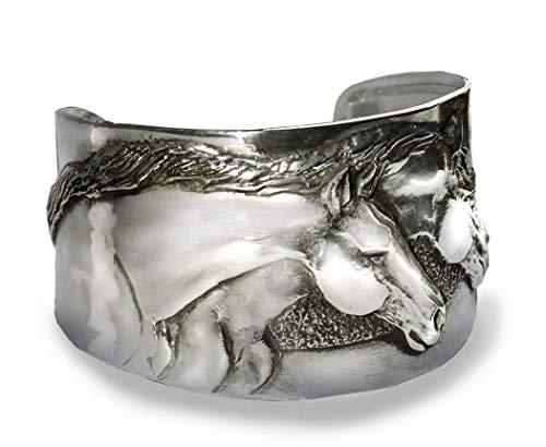 Horse Lady Gifts bracelet, Two Horse Heads cuff bracelet handmade USA.