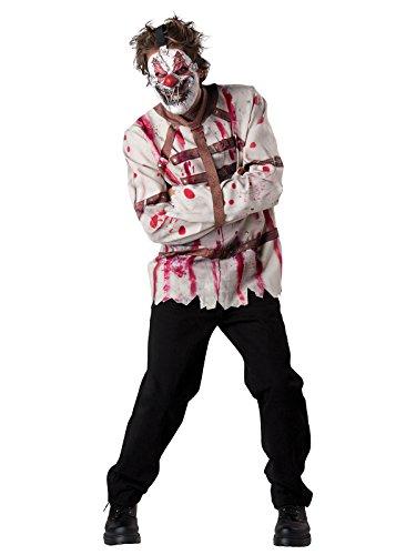 Psycho Clown Zwangsjacke Halloween Kostüm weiss braun rot L