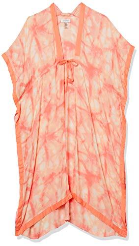 Calvin Klein Damen Dye Swim 100% Viscose Cover Up with Adjustable Tie Pashminaschal, pfirsich, Einheitsgröße