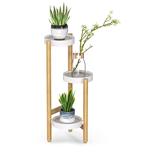 Bamboo Plant Stands Indoor, 3 Tier Tall Corner Plant Stand Holder & Plant Display Rack for Garden Outdoor (1-3 Tier)