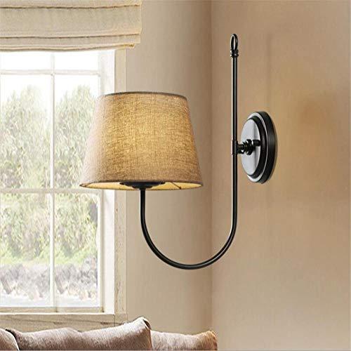 YLCJ wandlamp wandlamp wandlamp van ijzer met lampenkap van stof voor woonkamer slaapkamer nachtkastje landelijke retro u0026 ograve; creatief decoratieve verlichting