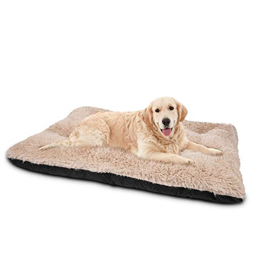 JOEJOY Dog Bed Crate Pad, Ultra Soft Calming Washable Anti-Slip Mattress Kennel Crate Bed Pad Mat 24/30/36/42 Inch for Large Extra Large Medium Small Dogs and Cats Sleeping, Anti-Slip Dog Cushion